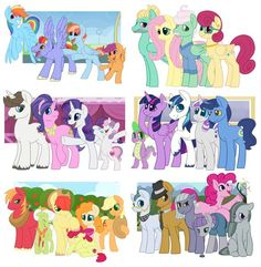 Mane 6 and family Dessin My Little Pony, My Little Pony Cartoon, My Little Pony Characters, My Little Pony Drawing, My Little Pony List, My Little Pony Pictures, Mlp My Little Pony, My Little Pony Friendship, Equestria Girls