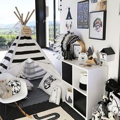 I love how striking this room is absolutely no holding back on a strong monochrome theme here! The OYOY Adventure Rug looks amazing along with all of the other cool black and white items from some fabulous brands. Wonderful styling and photography by the Baby Bedroom, Baby Boy Rooms, Nursery Room, Kids Bedroom, White Nursery, Bedroom Ideas, Monochrome Nursery, Childrens Bedroom, Nursery Themes
