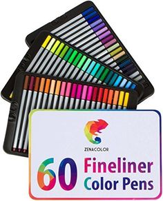 60 Pennarelli a punta fine Zenacolor - 60 colori unici (nessun doppione) - Penne FineLiner 0.4mm - Inchiostro a base d'acqua - Ideale per la calligrafia, il disegno di precisione, la scrittura, la colorazione per adulti, fumetti, manga. di Zenacolor, http://www.amazon.it/dp/B01N55RTLP/ref=cm_sw_r_pi_dp_x_yM3rzb6245V42