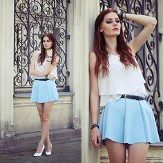 Get this look: http://lb.nu/look/6438430  More looks by Katarzyna Konderak: http://lb.nu/katepanth  Items in this look:  Skirt, Top, Heels   #blue #skirt #mademoisellekate