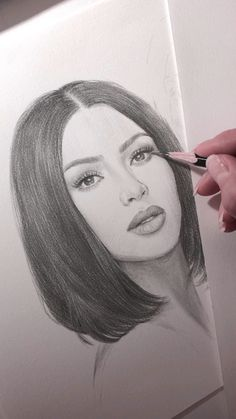 Pencil portrait of Kim Kardashian.-Pencil portrait of Kim Kardashian. The work is not finished yet, I'll give Kim a few more marks. Plus there's a younger sister awaiting her turn. Girl Drawing Sketches, Pencil Art Drawings, Realistic Drawings, Woman Drawing, Drawing Art, Pencil Sketches Of Girls, Indie Drawings, Pencil Sketch Portrait, Woman Sketch