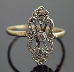 Edwardian Diamond Ring  18k Two Tone by SITFineJewelry on Etsy, $1695.00