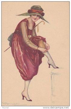 Postcards > Topics > Illustrators & photographers > Illustrators - Signed > Bompard, S. - Delcampe.net Vintage Prints, Vintage Art, Vintage Ladies, Images Vintage, Vintage Postcards, Fashion Illustration Vintage, Illustration Art, Fashion Illustrations, Art Deco Posters