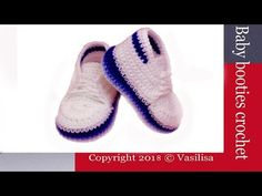 This is a video tutorial on how to crochet baby booties DIY Baby Crochet Converse, Crochet Baby Shoes, Crochet Baby Booties, Crochet Slippers, Diy Crochet, Headband Pattern, Diy Headband, Baby Boots, Diy For Girls