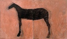 Susan Rothenberg, Triphammer Bridge, synthetic polymer paint and tempera on canvas, 1974    The horse was just a quiet image. I was able to stick to the philosophy  of the day—keeping the painting flat and anti-illusionist—but I also got  to use this big, soft, heavy, strong, powerful form  -Susan Rothenberg on her reoccurring use of the horse