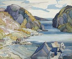 """Coldwell, Lake Superior,"" Franklin Carmichael, watercolor on paper, 11 x 13 Art Gallery of Hamilton. Looks an awful lot like Quidi Vidi in St. Watercolor Trees, Watercolour Art, Watercolor Landscape, Landscape Paintings, Group Of Seven Artists, Group Of Seven Paintings, Emily Carr, Canadian Painters, Canadian Artists"