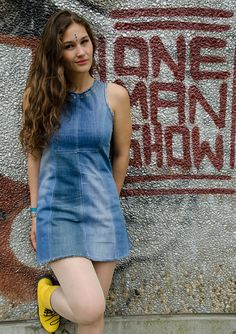 Upcycled denim mini dress with golden eyelets and by Pixelpolly