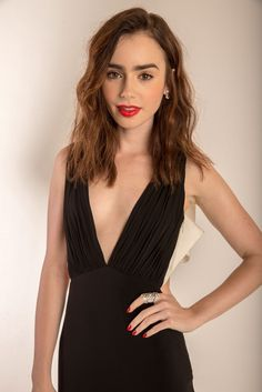 Lily Collins in classic yet super sexy black.
