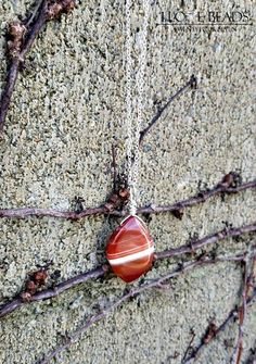 Etsy my shop banded carnelian wire wrapped sterling silver $26