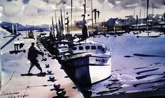 Guilvinec Port #watercolour #france #brittany