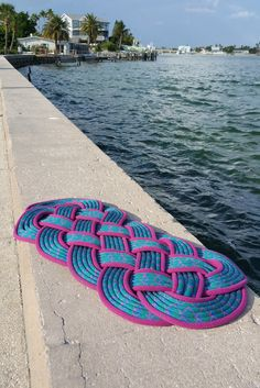 PREPPY Rope doormat in Blue, Green & Hot Pink / Recycled Climbing Rope / Entry rug / Bath mat / Boat mat / Nautical Knot Decor