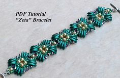 DIY Bracelet, Beading Bracelet, Bead Tutorial, Beaded Bracelet, Beadwork Pattern, Beadweaving Bracelet, PDF Pattern, Zeta Bracelet This PDF beading tutorial includes beading instructions for a lovely beaded bracelet. You can use the colors I did or you can use your own color combination.
