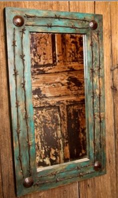 Rustic Old Ranch Turquoise Antique Door Mirror $238 at CCL Ranch Decor.com