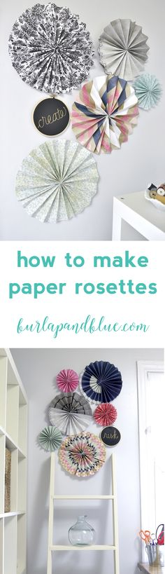 how to use scrapbook paper to make paper rosettes / pinwheels