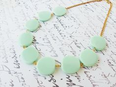 Mint Necklace - Pastel Necklace - Mint Weddings - Statement Necklace -Bridesmaid gift on Etsy, $18.00