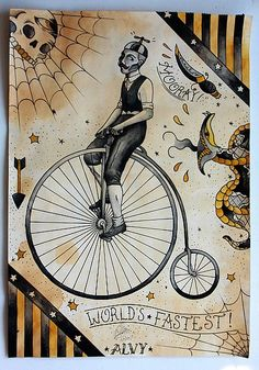 Penny farthing traditional tattoo