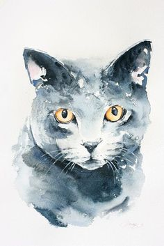 Cat portrait  custom portrait original watercolour painting