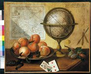 """Sebastiano Lazzari """"Finto asse"""" e natura morta con pesche e globo terrestre  1785 Dipinto su tela; cm 54 x 66. Milano, Galleria d'Arte Studiolo"""