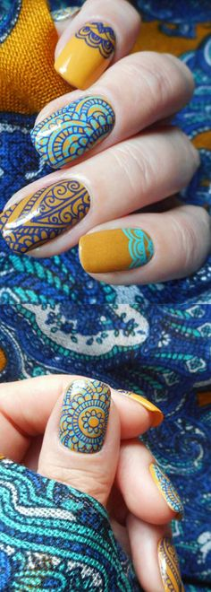 Arabesque flower #nailstamping, unique design shared for you, try this one in bornprettystore.com.