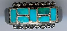 VINTAGE ZUNI INDIAN SILVER CHANNEL SET INLAID TURQUOISE RING SIZE 6