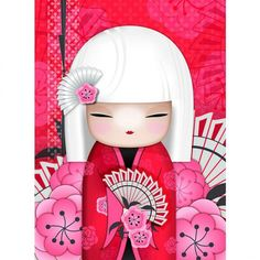 """✿ Kimmidoll Illustration ~ """"Saya"""" 'Affectionate' ✿ """"My spirit is warm and generous. With your warm-hearted and tender nature you share my spirit. May your gentle and generous affection endear you, and bring you close to those you love. Momiji Doll, Kokeshi Dolls, Matryoshka Doll, Paper Dolls, Art Dolls, Geisha Art, Art Asiatique, Art Japonais, Japan Art"""