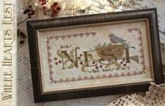 Where Hearts Rest is the title of this cross stitch pattern from With Thy Needle and Thread that is stitched with Weeks Dye Works