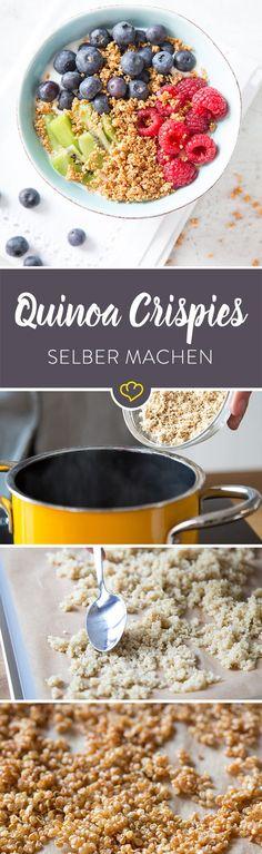 Ohne Gluten, schnell gemacht und unglaublich vielseitig: Quinoa Crispies sind als Knuspertopping auf Joghurt oder auch als kleine Pralinen ein Hochgenuss!