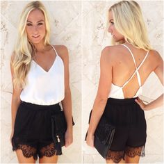 A little sultry & sweet in black and white! Grab this two tone romper for a night downtown! Lace romper ($32.99) now available in store at #sophieandtrey or online at www.sophieandtrey.com! #bw #lace #perfection #ladiesnight #hot