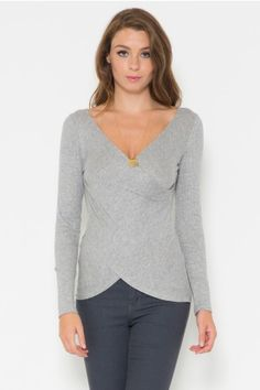 Long Sleeve Front Detailed Rib Top