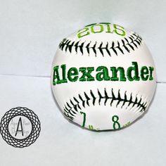 Birth announcement customized baseballs
