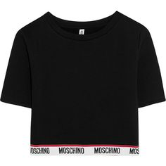 Moschino Cropped cotton-jersey top ($195) ❤ liked on Polyvore featuring tops, black, sport top, cotton jersey, sport crop top, moschino and cut-out crop tops