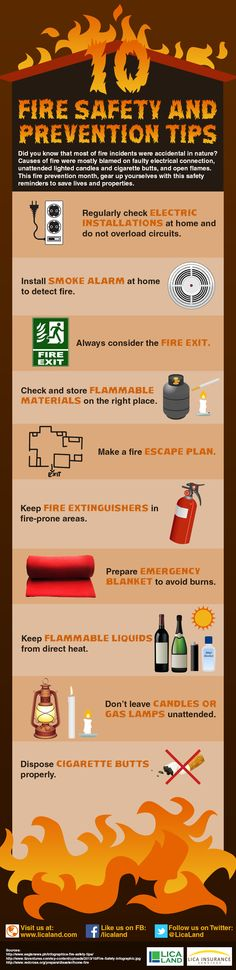 Here are some very simple fire safety and prevention tips to follow to save lives and properties.  Remember: It takes only a few seconds for a fire to burn away everything what one may have spent years to acquire.