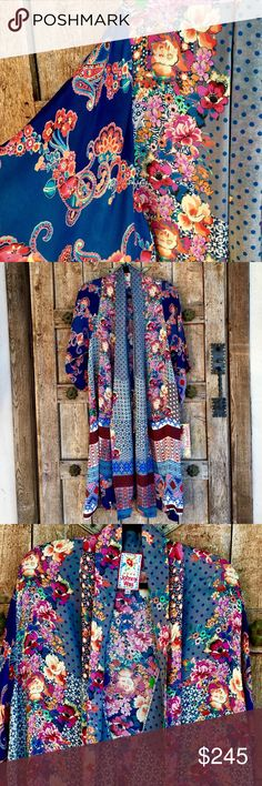 """Johnny Was FLORAL PAISLEY POLKA DOTS Kimono Beautiful PLUS SIZE 100% Capra Rayon ( Machine Washable Cold!!!), has interior tie, can be worn by a range of sizes, L-2x, marked XXL, 3/4 Wide Sleeve, low pockets in front, contrasting patterns within fabric, mostly Bright Colors & Gem tones, Fab w/ leggings, formal or with your favorite Denim!! ( I'd put it with the Ralph Lauren Pale Blue & White Skinnys) Bust up to 28"""", Length 42"""", 17"""" 3/4 Sleeve with Drop Shoulder, NWT Johnny Was Intimates…"""