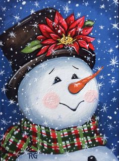"""Merry and Bright"" Snowman Winter Holiday Christmas ACEO Original Painting EBSQ 