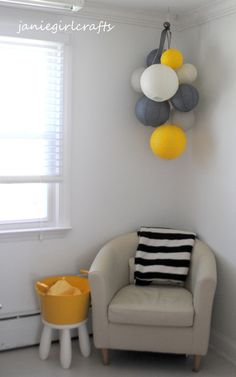 Grey, Yellow, and Ivory Large Paper Lantern Balloon Mobile.  Very cute idea!