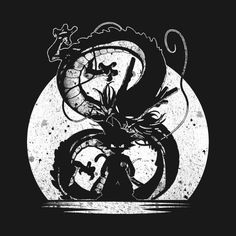 'dragon and goku' T-Shirt by abundatee Dragon Ball Z Shirt, Cool Graphic Tees, Silhouette Art, Pictures To Paint, Animes Wallpapers, Amazing Art, Geek Stuff, Art Prints, Cool Stuff
