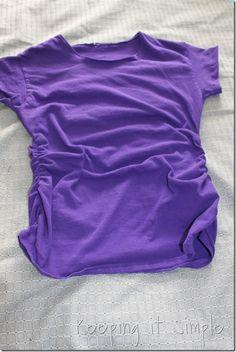 gathered sides t-shirt refashion (9), interesting sleeve hem, too!