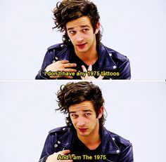 Here's Matty forgetting about his 1975 tattoo on his right arm. // He's a cutie tho & I love his hair like this, all shaggy. Hell-- I love his hair all the time
