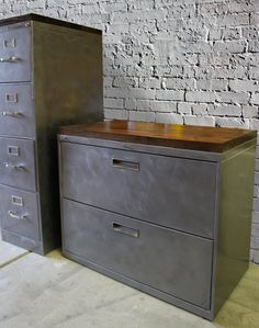 Refinished Metal Filing Cabinet or wide 2 drawer lateral / tool storage Wood Top / Office Storage / Cabinet Rustic / industrial – industrial office interior Office Storage, Rustic Office, Industrial Office, Rustic Office Storage, Home Office Design, Office Furniture, Metal Filing Cabinet, Rustic Storage, Office Storage Cabinets