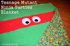 Teenage Mutant Ninja Turtle Flannel or fleece Blanket tutorial. TMNT  {Love Bug Living} DIY
