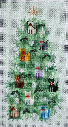 New Ideas For Crochet Cat Christmas Cross Stitch Xmas Cross Stitch, Cross Stitch Charts, Cross Stitch Designs, Cross Stitch Patterns, Cat Cross Stitches, Cross Stitching, Cross Stitch Embroidery, Photo Chat, Needlepoint Designs