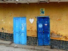 Vibrant blue doors. Venezuela