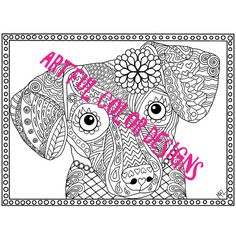 Dachshund Dog Coloring Page Printable by ArtfulColorDesigns