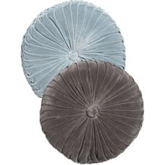 Round velour pillow in blue and grey - Nordic Bliss Teal Office, Grey Cushions, Creative Colour, Velvet Sofa, Fine Furniture, Shades Of Blue, Blue Grey, Throw Pillows, Bliss