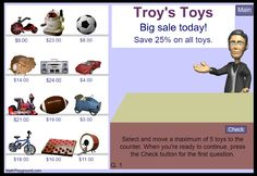 """This is an image from this resource on the Internet4Classrooms' """"Fourth Grade Interactive Math Skills - Money and Time"""" resource page:    Shopping at Troy's Toys.    Percent shopping practice."""