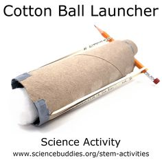 "Cottonball Launcher Make a cottonball launcher! Designing, building, and testing DIY launchers is a great way to get hands-on with creative Explore and energy with the FREE ""Make a Cotton Ball Launcher"" activity. 4th Grade Science, Stem Science, Preschool Science, Elementary Science, Science Classroom, Teaching Science, Physical Science, Science Chemistry, Earth Science"