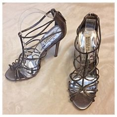 "Badgley Mischka Strappy Metallic Pewter Heels Gorgeous shoes with 5"" heels. Pewter colored leather with tiny rhinestone accents on one strap and around ankle strap. Closed heel zips in back. Worn once and in excellent condition! Badgley Mischka Shoes Heels"