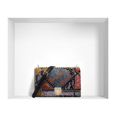 """""""DIORAMA"""" BAG IN JACQUARD CANVAS PATCHWORK ❤ liked on Polyvore featuring bags, handbags, white handbags, jacquard handbags, white canvas bag, white bag and canvas purse"""
