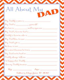 All about dad. Father's day survey. Father's day project for kids. Cute Father's day gift!