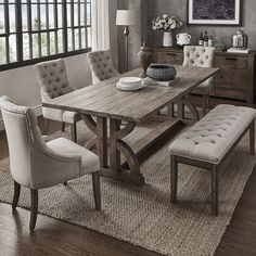 Paloma Salvaged Reclaimed Pine Wood 6-Piece Rectangle Dining Set by iNSPIRE Q Artisan (6-Piece Set - Beige Linen), Size 6-Piece Sets
